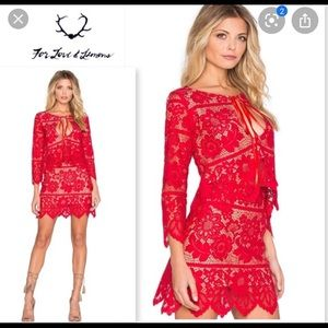 Red lace For Love and Lemons skirt